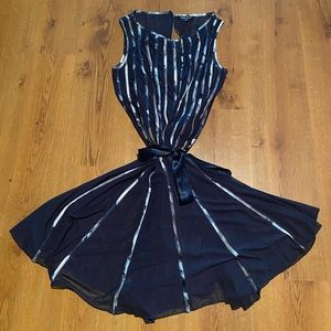 Navy w colorful ribbons A Line Dress 16W